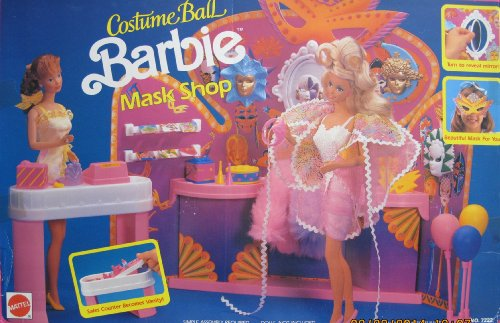 BARBIE Costume Ball BARBIE MASK SHOP Playset w Sales COUNTER/VANITY, MASK DISPLAY UNIT & More (1991 Arco Toys, Mattel)