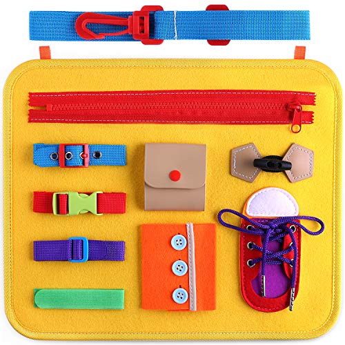 Giftinthebox Toddler Busy Board, Montessori Toys Basic Skills Board for Toddlers Learning Dress, Educational Learning Toys, Toddler Travel Toys