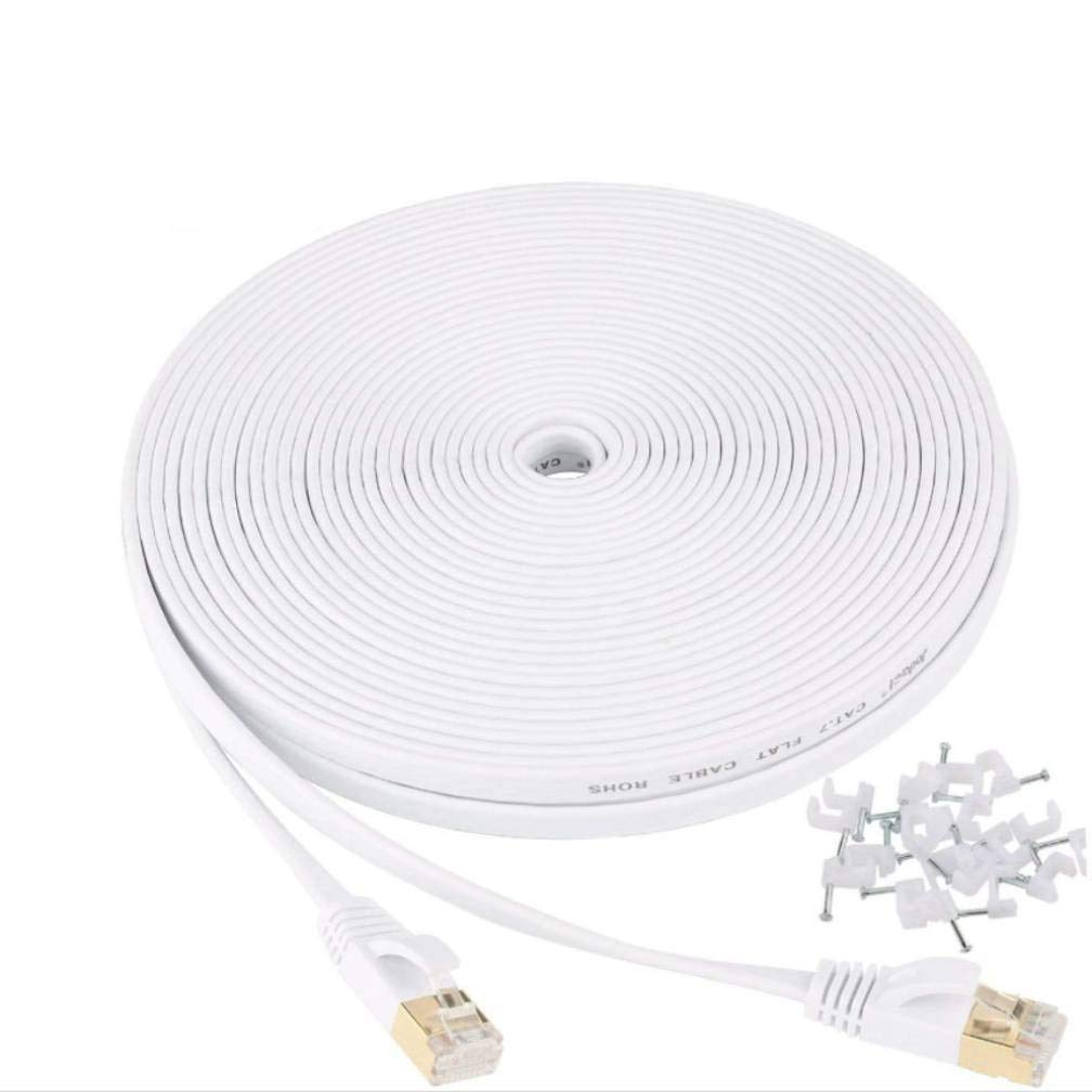San Diego Mall Cat 7 Ethernet Cable 2Pack 50ft Internet Flat White Super-cheap