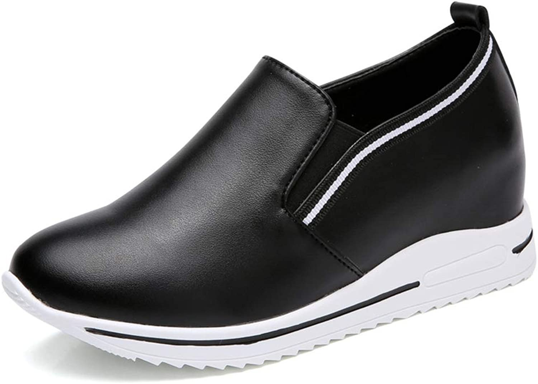 GIY Women's High Top Fashion Sneakers Slip On Loafers Platform Hidden Heel Wedge Sneakers Flat shoes
