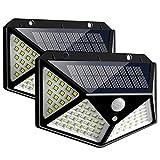 BAGZY Luz Solar Exterior 100 LED 1200mAh Foco Solar con Sensor de Movimiento y 3 Modos de Iluminación Lámpara Solar Exterior Impermeable Luces Solares Jardín 2-Paquete