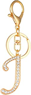 Initial Letters Keychain Adorable Shiny Rhinestone Alphabet Key Ring Monogram Sparkling Bling Pendant Charm Bag Decorations Key Chain Bulk Cute Gifts(Letter:j)