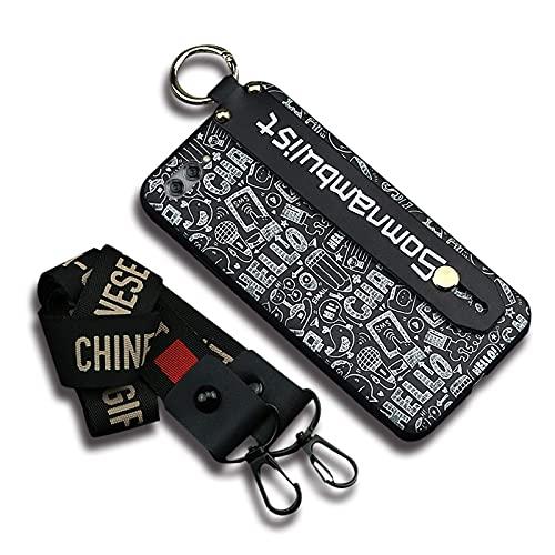 Carcasa trasera Lulumi de diseño compatible con Huawei Nova 2S, resistente a la suciedad, elegante soporte de pulsera, funda suave, diseño de correa de cuello antipolvo, negro somnambulist graffiti
