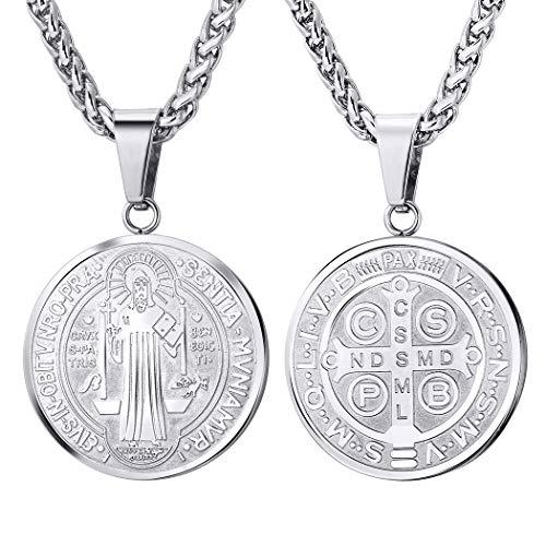 U7 Collar de Medalla San Benito Redondo/Oval Cruz Acero Inoxidable/Chapado en Oro 18k con Cadena Espiga para Hombre y Mujer (Redondo/Plateado)