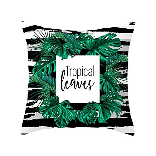 V Ins Floral Tropical plant leaves Pillowcase Cushion Home Decor Rainforest Green Leaves Plants Throw Sofa Car Cushion,3,45x45cm