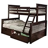 Mission Twin Over Full Bunk Bed with Drawers Espresso