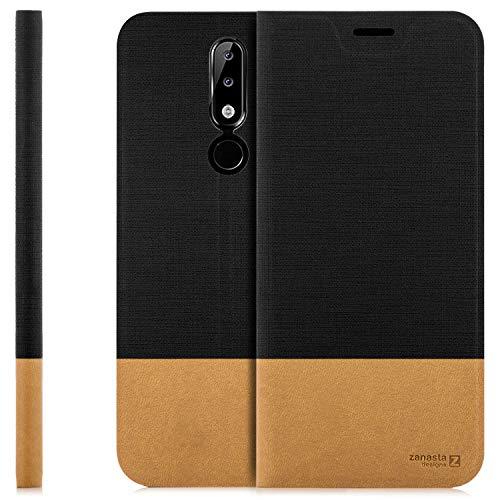 Zanasta Custodia Compatibile con Nokia 5.1 Plus, Cover Flip Wallet Designs Case Copertura con Portafoglio - Pieghevole con Porta Carte, | Nero