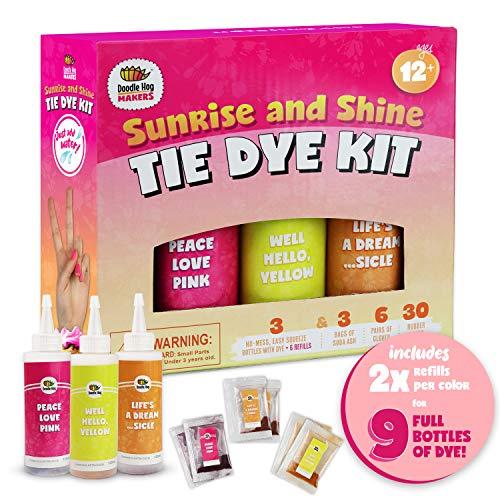 Orange, Yellow, Pink Tie Dye Colors in Sunrise & Shine Tie Dye Kit (Tye Dye Kit). Custom Clothing Dye with 6 Refills for Multiple Projects, Soda Ash, Ties, Free Tie Dye Techniques Guide