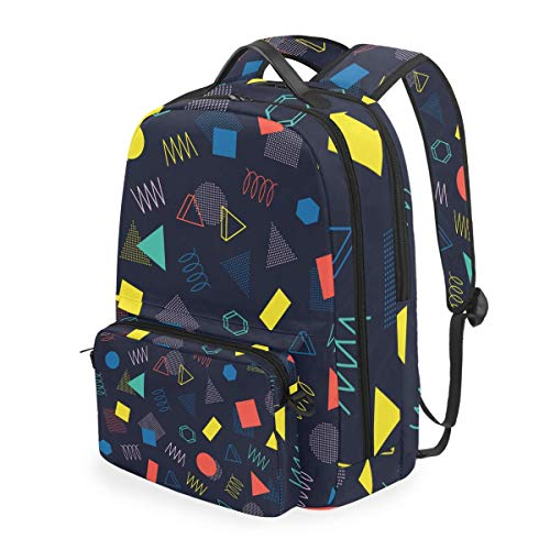 hangong Retro Memphis Geometric Line Shapes Seamless,School Backpack with Removable Pencil Case, 2 in 1 Travel Daypack Fits 15 Inch Laptop for Girls or Boys