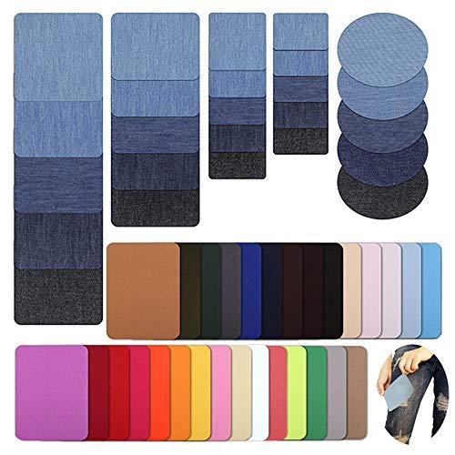 MEJOSER 54 Pièces Patch Denim Thermocollant Bleu Patch de Repassage Multicolore Rectangulaire en Tissu sur Le Repassage Jeans de réparation pour Jeans Sac Vêtement (Style 2)