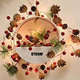 Christmas Lights, Garland with Lights, Fairy LED Lights, Decoration Pinecone Berries Indoor and Outdoor, Winter Holiday New Year Decor. Battery Powered (2M 20 Lights) (Pine Cone)