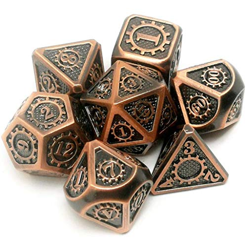 Youlin cubi Metallici 7 Parti/Rpg Dice D & D Gioco da Tavolo Giocattolo D4 D6 D8 D10 D12 D20 Puntelli magici Dadi poliedrici