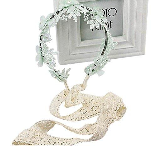 TININNA Mädchen Kinder Perlen Spitze Blumen Stirnband Kopfband Haarband Haarschleife Headband Haarschmuck für Party Fotografie (Mint Grün)
