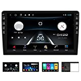 Hodozzy Double Din GPS Car Stereo Split Screen 10'' IPS Touch Screen Car Radio with Bluetooth Support External Microphone, WiFi Mirror Link SWC DVR USB FM Radio Receiver + Rear Camera