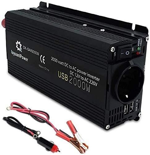JQZ Car Inverter Inverter 2000W 12V bis 220V AC Sinus-Wellen-Auto-Caravan Auto Netzteil for Notebook Smartphones Camping Versorgung Modified mit 2 USB Car Inverter