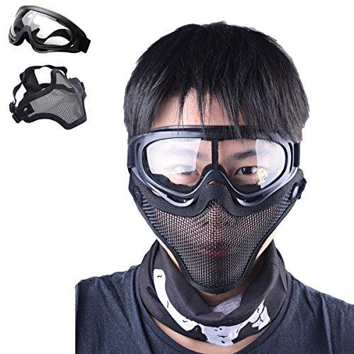 COOFIT Airsoft Maske Paintball Maske Airsoft Brille Taktische Ausrüstung Paintball Halbfläche Stahl Mesh Maske Und Brille Set Outdoor-Maske Schutz Mesh