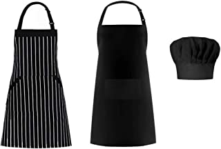 Morwealth Apron and Chef Hat Set, 2 Pack Adjustable Bib Cooking Aprons Water Drop Resistant with Elastic Baker Cooking Kitchen Chef Cap for Women Men Chef, Black (2 Pack Black Chef Apron and 1 Hat)