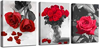 Ardemy Canvas Wall Art Red Rose 3 Panels Flowers Pictures Prints Black and White Painting Modern Romantic Florals Framed Ready to Hang for Bathroom Kitchen Bedroom Washing Room Spa Wall Decor