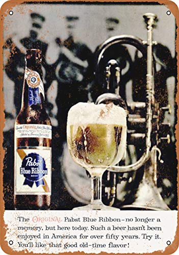 AMELIA SHARPE Vintage Retro Collectible tin Sign - 1960 Pabst Blue Ribbon Beer -Wall Decoration 12x8 inch Poster Home bar Restaurant Garage Cafe Art Metal Sign Gift