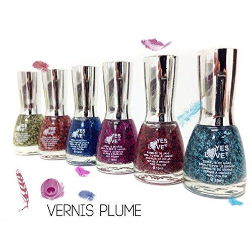 Lot de 6 vernis PLUMES - NOUVEAU décoration ongles - Noir, orange, bleu, turquoise, rose,rouge .Nail art