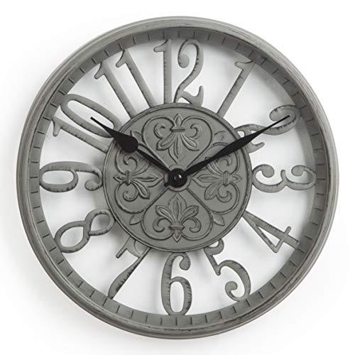 shabby orologio da parete Orologio da Parete in PVC Silenzioso Stile Vintage Numeri Grigi Traforati 30X5X30 cm