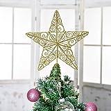 YQing 28.7cm Estrella Arbol Navidad, LED Estrella de Navidad Decoración Estrella de Punta de Árbol Ornamento del arbol Navidad para árbol de Navidad o Decoración del Hogar, Dorado