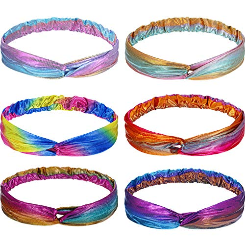 6 Pieces Mermaid Knotted Headband Sparkly Metallic Elastic Hair Bands Glitter Criss Cross Headwrap for Women Girls