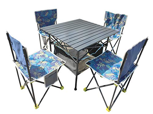 Camping Chair and Table 330 pounds Large Size Folding Table and Chair Set (5)