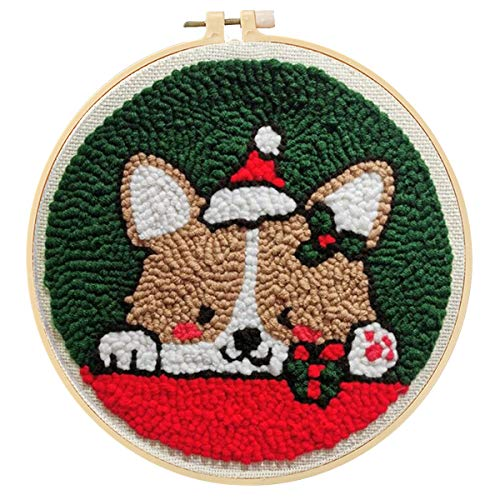 Maydear Punch Needle Starter Kit for Beginner Cartoon Rug Hooking Beginner Kit, with an Embroidery Pen and 9.8'' Hoop - Christmas Puppy