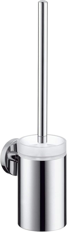 Hansgrohe 40522820 Toilettenbürstengarnitur Logis mit Behlter aus Kristallglas, Brushed Nickel