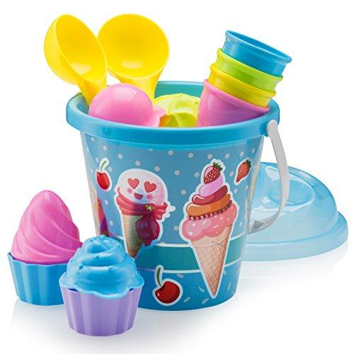 Top Race, único juego de cubitos de playa para cupcakes hechos de plástico de la más alta calidad. Juego de 14 cubetas de helado de playa, con temática de helado de playa. Gran cubo de playa de 9 pulgadas con helado y magdalenas de arena con hermosos...