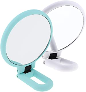 Blesiya 2Pack Handheld Mirror with Handle, Normal & 15X Magnification 2 Sided for Vanity Makeup Home Salon Travel Use