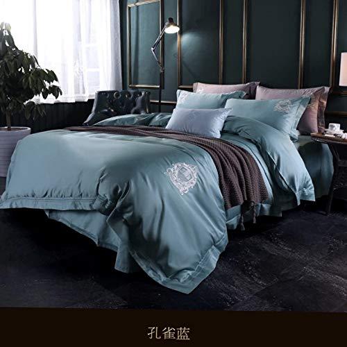 yaonuli Ensemble de Quatre pièces de lit en Coton Minimaliste élégant brodé Quatre pièces Peacock 200 * 230