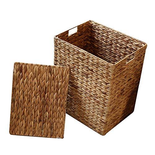 JWIL Storage basket Closet Organizer with Lids,Handmade Wicker Storage Baskets,Decorative Baskets and Bathroom Organizer for Living Room,Bathroom for Home Office Closet Toys Clothes