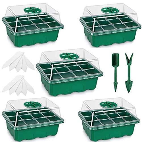 Fengaim Bandeja Semillas, Paquete de 5 bandejas de germinación de Semillas de 12 Celdas, semillero, Bandeja de Invernadero para Interiores Kit de Inicio de Planta para germinación de Semillas (Verde)