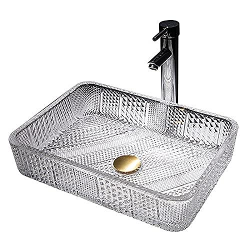 ZYGF Fregadero de baño, fregadero de recipiente con grifo de cascada caliente y fría, fregadero de recipiente de baño material de vidrio templado fácil de limpiar para el baño