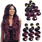 Ombre 2 Tone T1b/99j Body Wave 3 Bundles 20 22 24 Inch Brazillian Virgin Human Hair Bundles Double Weft Black To Burgundy Wine Red Full Thick Human Hair