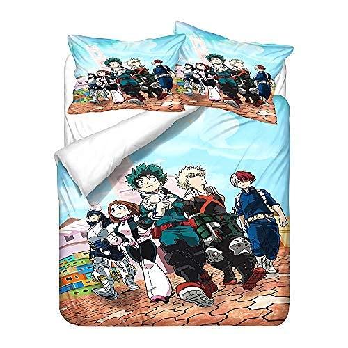 1511 My Hero Academia - Juego de cama de 3 piezas, juego de cama de anime para niñas y niños, adolescentes, funda de edredón de dibujos animados con patrón 3D (13.Individual: 135 x 200 cm+(80 x 80 cm)