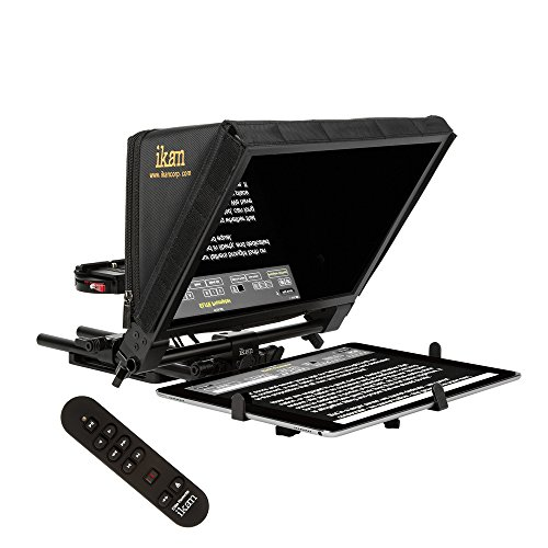Ikan 22-inch Elite Universal Large Tablet Teleprompter for Surface Pro & iPad Pro, Beam Splitter 70/30 Glass w/Remote (PT-Elite-PRO-RC) - Black