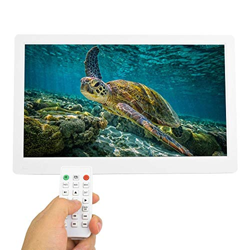 Bewinner Portarretratos Digitales, Álbum electrónico LED de Pantalla IPS de 17 Pulgadas, Compatible con MP3 / AV/MPG / MP4 con Reloj electrónico/función de Calendario electrónico(Blanco)