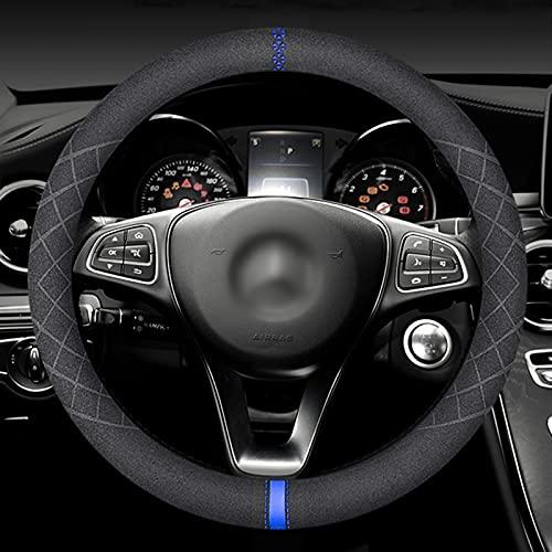 Iriisy 37 – 39 cm universal de ante para volante de coche, cubierta redonda para volante con relieve en caliente, marcador central (azul)