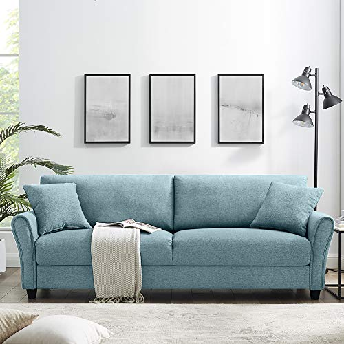 Tribesigns 85 Inch Comfortable Couch Sofa, Modern Upholstered Linen Soft Loveseat Sofa Couch for Living Room Small Apartment (Denim Blue)