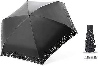 AUWANGAOFEI Fresh Small Lightweight Umbrella Dual UV Barometer Half of Pocket Mini Umbrella (Color : Black, Size : 95CM)