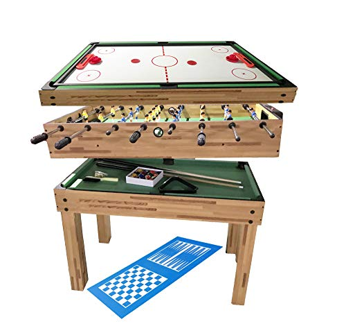 haxTON Game Table Combination Multi Game Table with 4 Games 4 in 1/3 in 1 Game Table Include Air Hockey Table, Pool Table Bowling Table and Foosball Table for Children and Adult Chess Exclude