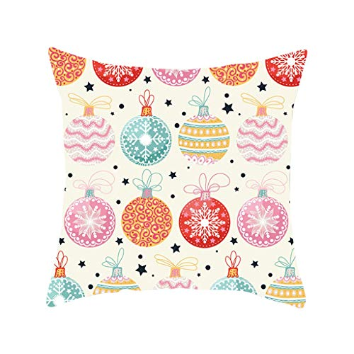 GDBEST Merry Christmas Cushion Cover Decorative Santa Claus Elk Series Pillow Cover Waist Throw Pillow Cover Creative Lovely Pillowcase for Sofa Cafe Bedroom Home Decor Gifts Pillow Case(18' x 18')