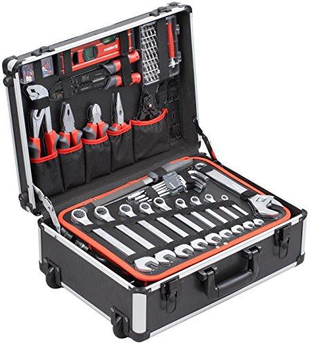 Meister Werkzeugtrolley 156-teilig ✓ Werkzeug-Set ✓ Mit Rollen ✓ Teleskophandgriff | Profi Werkzeugkoffer befüllt | Werkzeugkiste fahrbar auf Rollen | Werkzeugbox komplett mit Werkzeug | 8971440 - 2