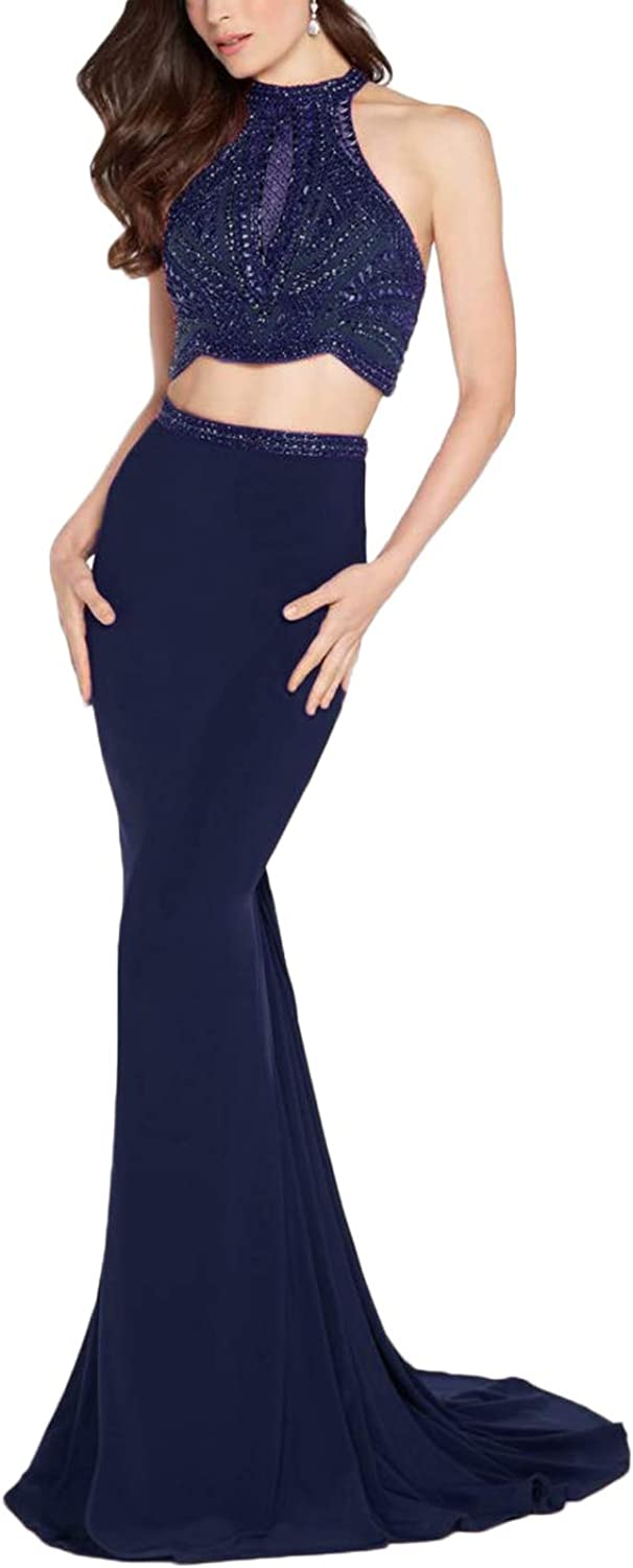 Yisha Bello Women's Two Piece Beaded High Neck Mermaid Evening Party Pro Dress Halter Backless Cocktail Party Dress