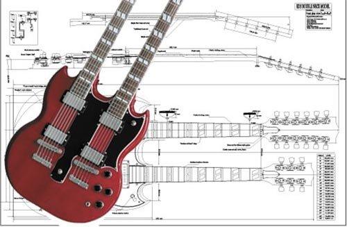 Plan of Gibson EDS E-Gitarre mit Doppelhals, Vollmaßstabsdruck