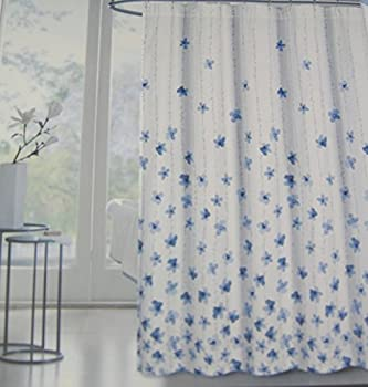 Tahari Home Floral Fabric Shower Curtain Watercolor Vines Blue -72  X 72