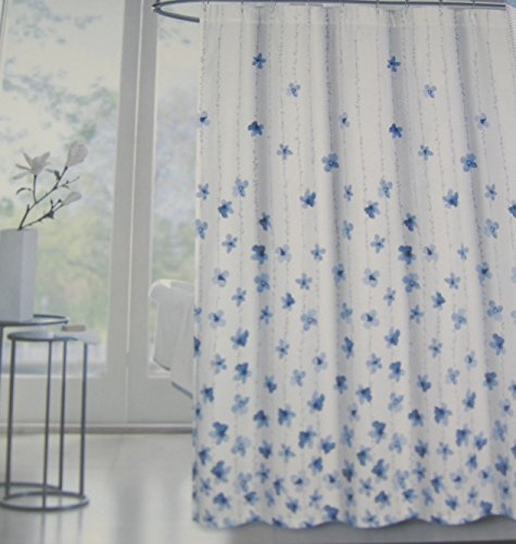 Tahari Home Floral Fabric Shower Curtain Watercolor Vines Blue -72' X 72'